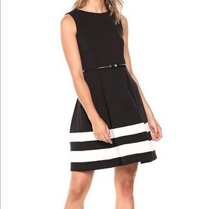 Black Fit-and-Flare Dress with Belted Waist